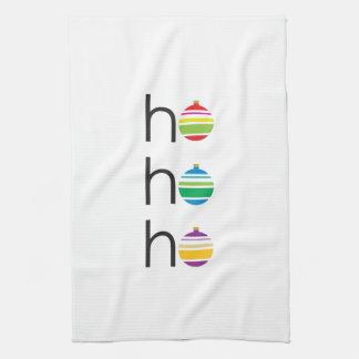 """ho ho ho"" Striped Ornament Christmas Kitchen Towel"
