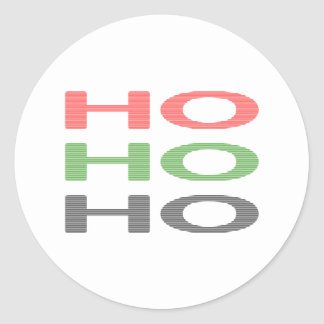 HO HO HO - strips - red, green, red. Classic Round Sticker