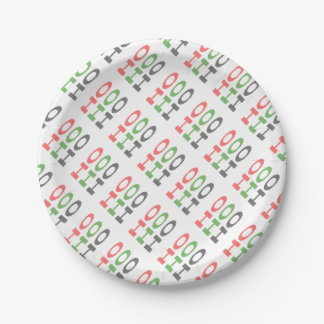 HO HO HO - strips - red, green, red. Paper Plate