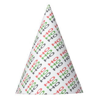 HO HO HO - strips - red, green, red. Party Hat