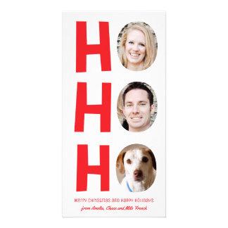 Ho Ho Ho Three Photo Skinny Holiday Card red white Custom Photo Card