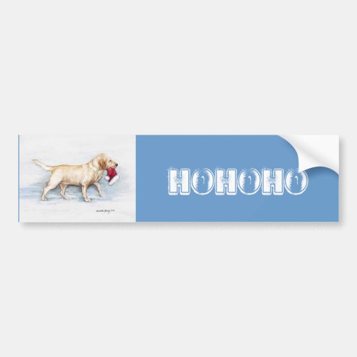 Ho Ho Ho Yellow Lab Bumper Sticker