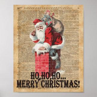 Ho,Ho Merry Chirstmas Santa Claus Dictitionary Art Poster
