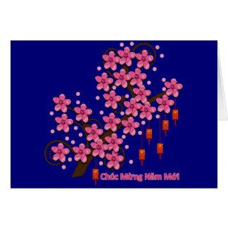 Hoa Dao Happy New Year Greeting Card