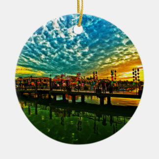 Hoai River Vietnam Round Ceramic Ornament