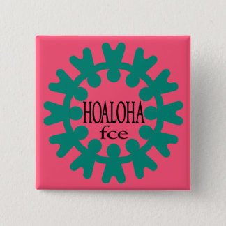 Hoaloha Teal on Pink Button