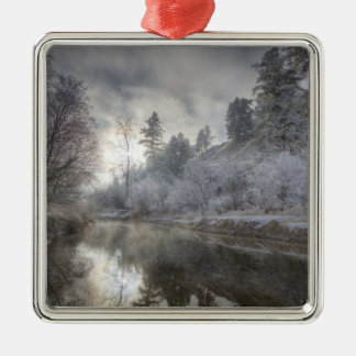 Hoarfrost along a slough at the Kelly Island Metal Ornament