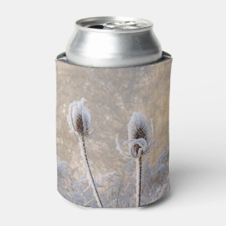 Hoarfrost Teasels Winter Photo Scenic Funny Bawdle Can Cooler