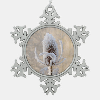 Hoarfrost Teasels Winter Photo Scenic - Xmas decor Pewter Snowflake Ornament