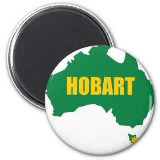 Hobart Green and Gold Map Fridge Magnet