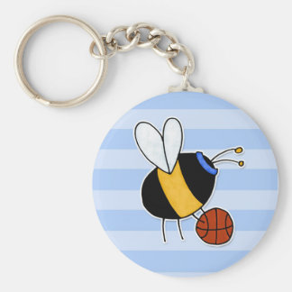 hobby - rather bee shooting hoops no txt basic round button keychain
