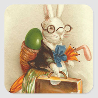 Hobo Easter Bunny Colored Egg Suitcase Square Sticker