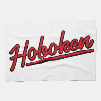 Hoboken in red kitchen towels