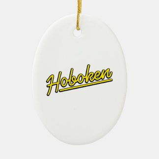 Hoboken in yellow ceramic ornament