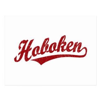 Hoboken script logo in red distressed postcard