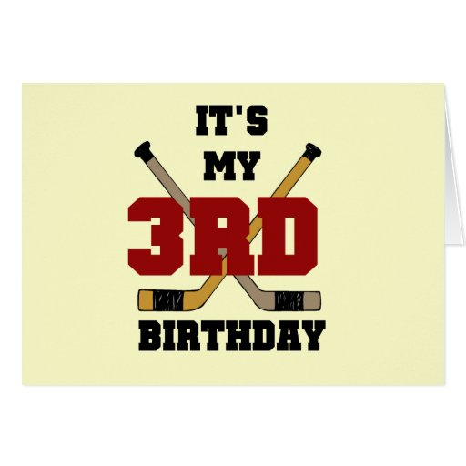 Hockey 3rd Birthday Tshirts and Gifts Cards