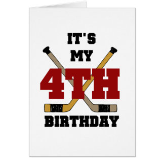 Hockey 4th Birthday Tshirts and Gifts Cards