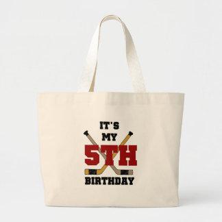 Hockey 5th Birthday Jumbo Tote Bag
