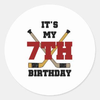 Hockey 7th Birthday Round Sticker