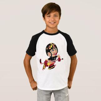HOCKEY ALIEN CARTOON Kids' Short Sleeve Raglan T T-Shirt