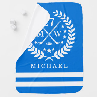 Hockey ALL-STAR Custom Name Blue Baby Blanket