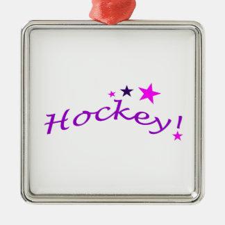 Hockey arqué avec des étoiles ornement carré argenté