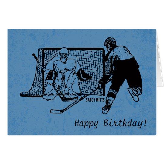 Hockey Birthday Card Ink Sketch On Blue Zazzle
