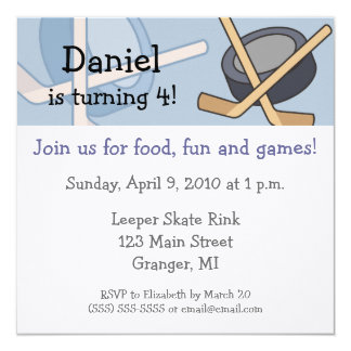 Hockey Birthday Party Invitations 5.25x5.25 in