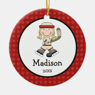 Hockey Blonde Girl Kids Personalized Christmas Ceramic Ornament