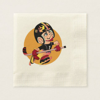 HOCKEY  CARTOON  NAPKINS Coined Cocktail Ecru Disposable Napkins