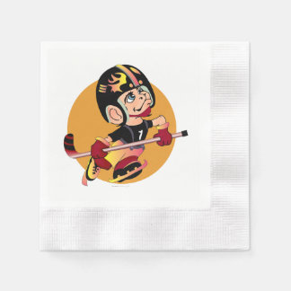 HOCKEY  CARTOON  NAPKINS Coined Cocktail WHITE Paper Napkins