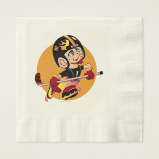 HOCKEY  CARTOON  NAPKINS Coined Luncheon Ecru Disposable Napkin