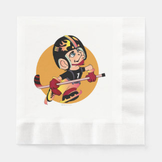 HOCKEY  CARTOON  NAPKINS Coined Luncheon WHITE