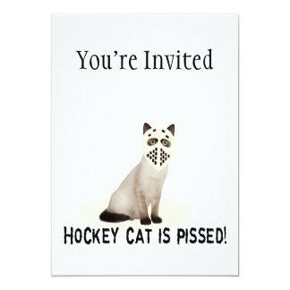 "Hockey Cat Pissed 5"" X 7"" Invitation Card"