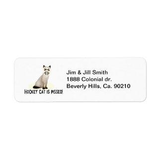 Hockey Cat Pissed Return Address Label
