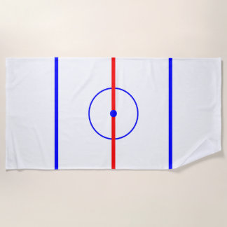 Hockey Centre Ice & Blue Lines Beach Towel