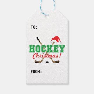 Hockey Christmas Hockey Sticks Santa Hat Gift Tags