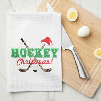 Hockey Christmas Hockey Sticks Santa Hat Kitchen Towel