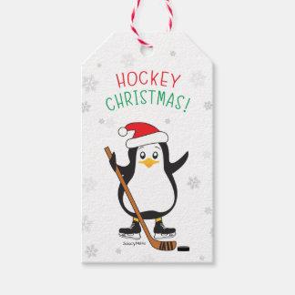 Hockey Christmas Penguin Santa Hat Snowflakes Gift Tags