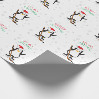 Hockey Christmas Penguin Wrapping Paper