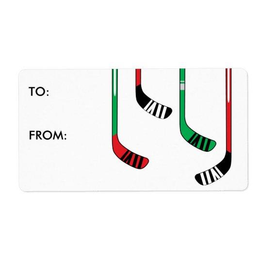 Hockey Christmas Present Gift Tag Sticker Label
