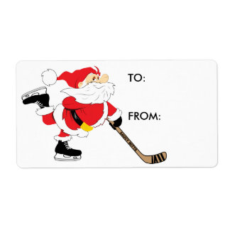 Hockey Christmas Santa Present Gift Tag Sticker