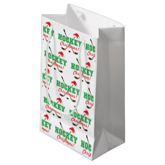 Hockey Christmas Sticks and Santa Hat Small Gift Bag