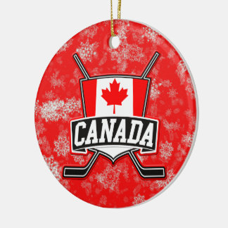 Hockey Christmas Tree Ornament Canadian Flag