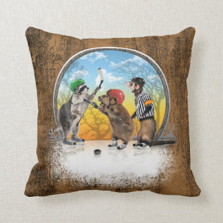 Hockey Critter Classic Throw Pillow