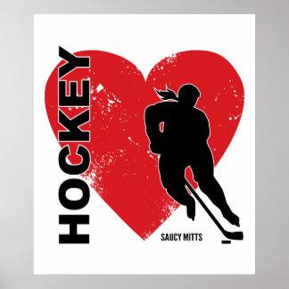 Hockey de coeur d'amour affiche