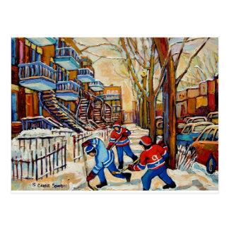 Hockey de rue avec 3 garçons cartes postales