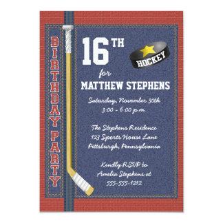 Hockey Denim Bricks Rustic Sports Birthday Party Card