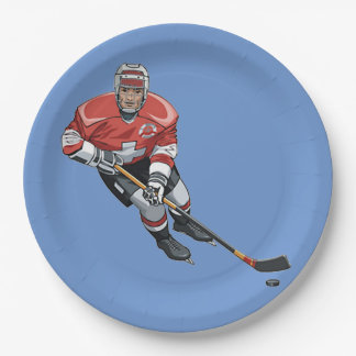 Hockey Design Paper Party Plate 9 Inch Paper Plate