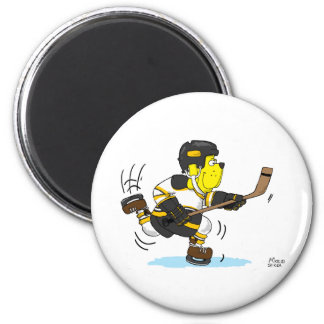 HOCKEY DOG BLACK AND GOLD MAGNET